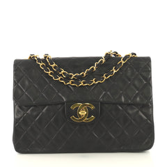 Chanel Vintage Classic Single Flap Bag Quilted Lambskin Maxi Black 42611154