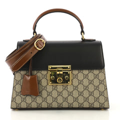 Gucci Model: Padlock Top Handle Bag GG Coated Canvas and Leather Small Brown 42611/177