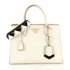 Prada Esplanade Bag Greca Saffiano with City Calf Medium White 42611186