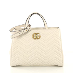 Gucci Model: GG Marmont Tote Matelasse Leather Medium White 42611/58