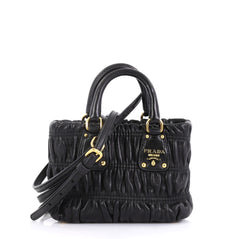 Prada Model: Gaufre Convertible Tote Nappa Leather Mini  Black 42611/64