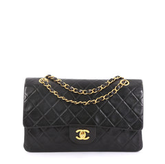 8e0428bfc8a9 Chanel Vintage Classic Double Flap Bag Quilted Lambskin Medium