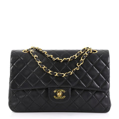 Chanel Model: Vintage Classic Double Flap Bag Quilted Lambskin Medium  Black 42611/86