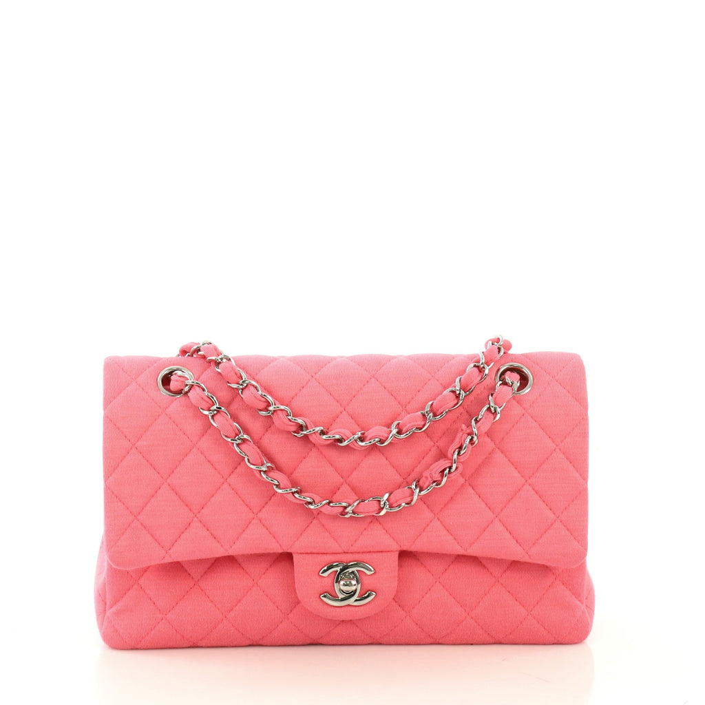 1c55f209dda4 Chanel Classic Double Flap Bag Quilted Jersey Medium - Rebag