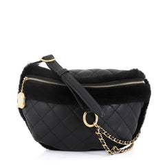 Chanel Model: CC Zip Waist Bag Quilted Calfskin with Fur Black 42613/1