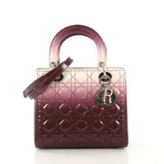Christian Dior Lady Dior Handbag Ombre Cannage Quilt Patent Medium  purple 42618/8