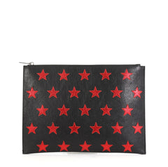 Saint Laurent Stars Zip Pouch Leather Medium  black 42629/10