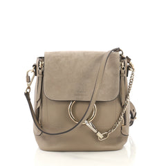 Chloe Faye Backpack Leather and Suede Small  neutral 42629/12