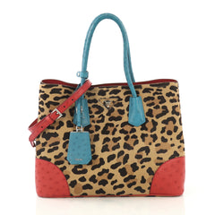 Prada Cuir Double Tote Printed Calf Hair with Ostrich Medium 42654/13