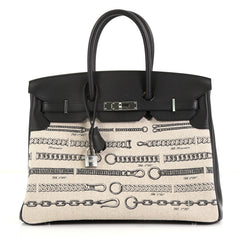 Hermes Birkin Dechainee Handbag Printed Toile and Black Swift with Palladium Hardware 35
