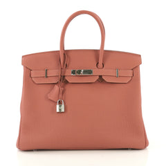 Birkin Handbag Rosy Togo with Palladium Hardware 35