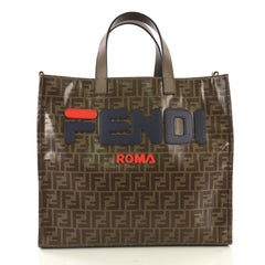 Fendi Mania Logo Shopper Tote Zucca Coated Canvas Large