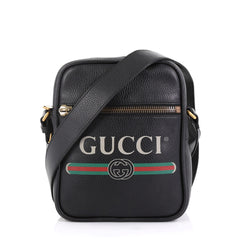 Gucci Model: Logo Zip Messenger Bag Printed Leather Small Black 42658/1