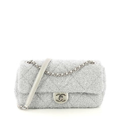 7387171e8ef8 Chanel CC Chain Flap Bag Quilted Knit Pluto Glitter Medium