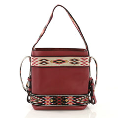 Christian Dior DiorOdeo Hobo Calfskin with Embroidered Detail Small  red 42696/3