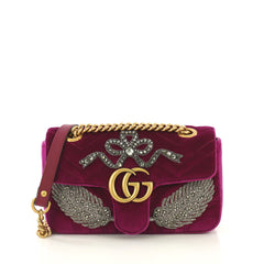 Gucci GG Marmont Flap Bag Embellished Matelasse Velvet Mini  purple 42733/1