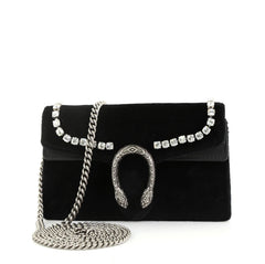 Gucci Dionysus Bag Crystal Embellished Velvet Super Mini  black 42733/2