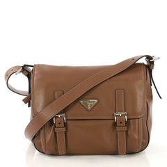 Prada Two Pocket Messenger Bag Leather Medium  brown 42746/3
