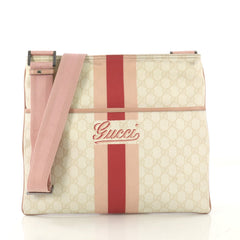 26bc1d7d36d8 Gucci Front Zip Flat Messenger Bag Printed GG Coated Canvas Medium neutral  42750/6