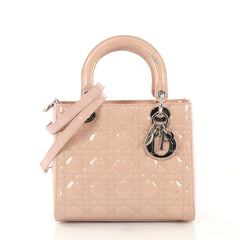 Christian Dior Lady Dior Handbag Cannage Quilt Patent Medium 42760/1