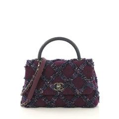 Chanel Coco Top Handle Bag Quilted Tweed with Lizard Small