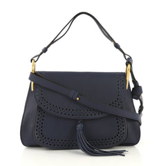 Chloe Model: Hudson Double Carry Bag Perforated Leather Medium Blue 42791/