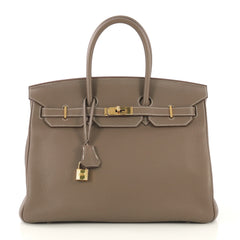 Hermes Birkin Handbag Grey Togo with Gold Hardware 35 - Rebag