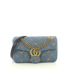 Gucci GG Marmont Flap Bag Printed Matelasse Denim Small Blue 428461