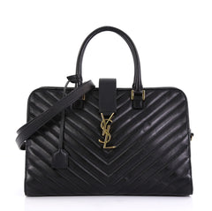 Saint Laurent Model: Monogram Cabas Matelasse Chevron Leather Medium Black 42858/16
