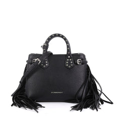 Burberry Model: Banner Convertible Tote Studded Leather with Fringe Baby Black  42858/4