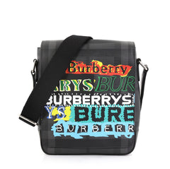 Burberry Model: Greenford Graffiti Crossbody Bag Smoked Check Coated Canvas Black 42872/21