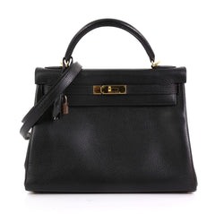 Hermes Kelly Handbag Black Ardennes with Gold Hardware 32 - Rebag