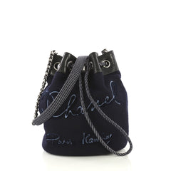 Chanel Paris-Hamburg Drawstring Bucket Bag Embroidered Wool Small