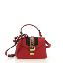 Gucci Sylvie Top Handle Bag Leather Mini Red 4290801