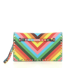 Valentino 1973 Rockstud Flap Clutch Striped Leather Multicolor 429181