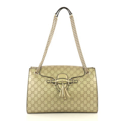 Gucci Emily Chain Flap Shoulder Bag Guccissima Leather Large Metallic...