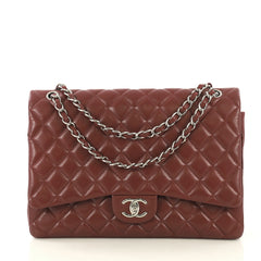 Chanel Classic Double Flap Bag Quilted Caviar Maxi Red 429183