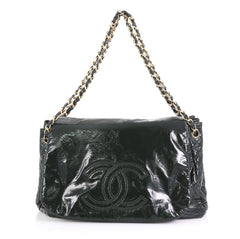 Chanel Rock and Chain Flap Bag Patent Vinyl Large Green 4299613