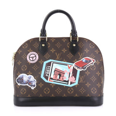Louis Vuitton Alma Handbag Limited Edition World Tour Monogram Canvas PM