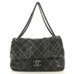 Chanel Double Stitch Flap Bag Quilted Glazed Calfskin Large