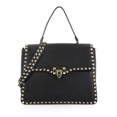 Valentino Rockstud Flip Lock Top Handle Bag Leather Small