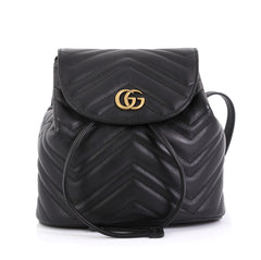 Gucci GG Marmont Drawstring Backpack Matelasse Leather Mini Black 4303...