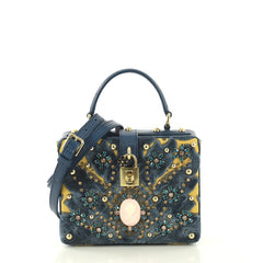 Dolce & Gabbana Model: Treasure Box Bag Embellished Fabric and Lizard Embossed Leather Small Blue 43039/1