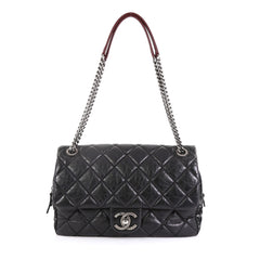 Chanel Portobello Flap Bag Quilted Aged Calfskin with Tweed Jumbo