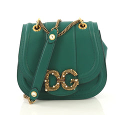 Dolce & Gabbana Amore Crossbody Bag Leather Small Green 430583