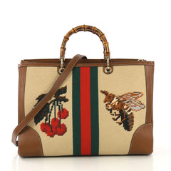 Gucci Bamboo Shopper Tote Needle Point Textile Large 43059/6