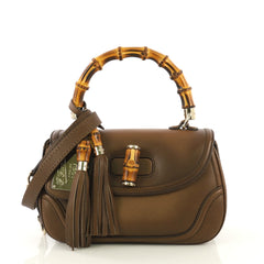 Gucci New Bamboo 1921 Top Handle Bag Leather Medium Brown 430961