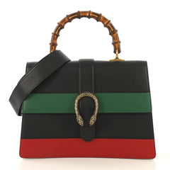 Gucci Dionysus Bamboo Top Handle Bag Colorblock Leather Large Black 430978
