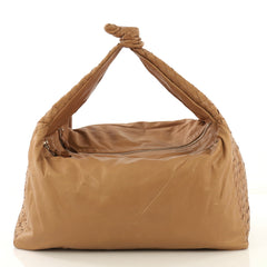 Bottega Veneta Knot Hobo Leather with Intrecciato Detail Large