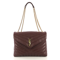 Saint Laurent Model: LouLou Shoulder Bag Matelasse Chevron Leather Medium Purple 43121/1